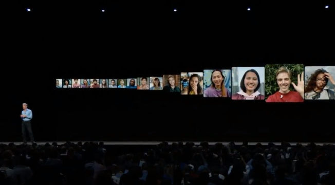GROUP FACETIME. Up to 32 people can now engage in a Facetime call at one time. Screenshot from livestream.