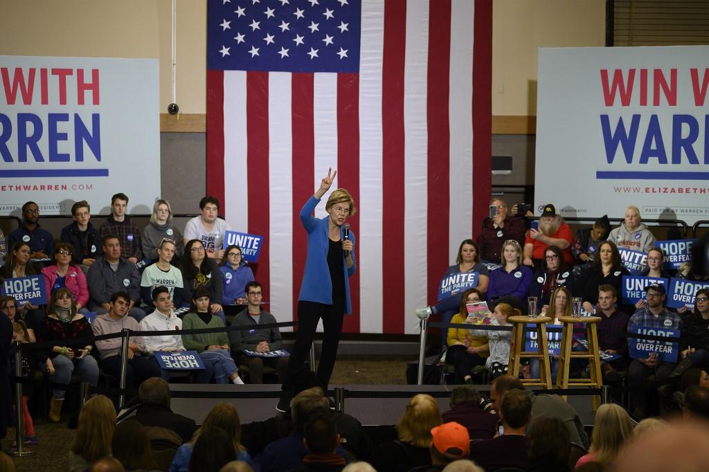 TOWN HALL. Democratic presidential candidate Massachusetts Senator Elizabeth Warren speaks at a town hall in Davenport, Iowa, on February 1, 2020. Photo by Jim Watson/AFP
