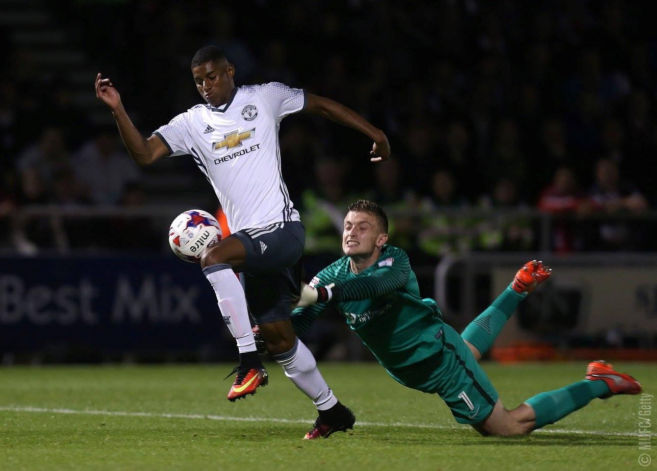 Marcus Rashford memastikan kemenangan Manchester United atas Northampton di Piala Liga Inggris, pada 21 September 2016. Foto dari Facebook/manchesterunited