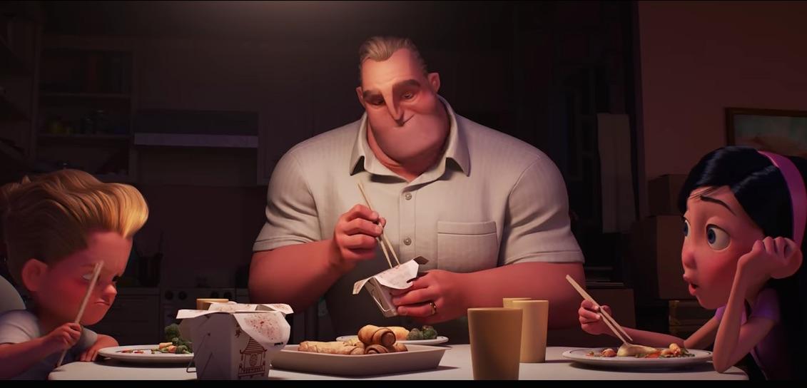 KELUARGA. Saat istrinya berjuang menumpas kejahatan, Mr. Incredible harus mengurus keluarga. Foto dari screen capture akun YouTube Disney-Pixar