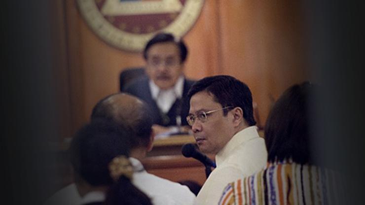 JINGGOY ESTRADA. Senator Jinggoy Estrada appears before the Sandiganbayan in 2014. AFP file photo