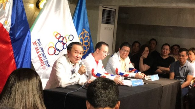 TOP OFFICIALS? House Speaker Alan Peter Cayetano (center), Congressman Abraham Tolentino (left), and Ramon Suzara (right) speak before the press. File photo by Beatrice Go/Rappler