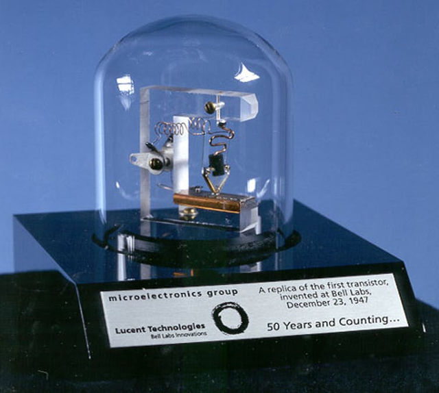 TRANSISTOR. A replica of the first transistor, developed at ATu0026T's Bell Laboratories in 1947. National Archives
