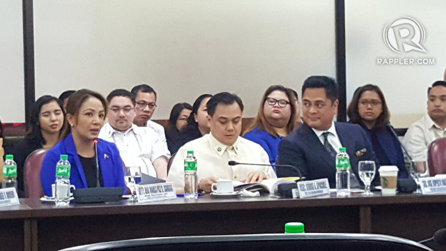 BUDGET HEARING. PCOO Secretary Martin Andanar declines to answer a question about holding Assistant Secretary Mocha Uson accountable, he refers lawmakers to Assistant Secretary Marie Banaag. Photo by Pia Ranada/Rappler