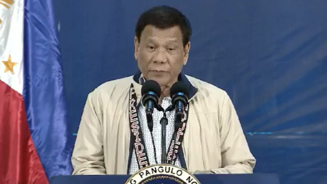 DRUG POLICY. President Rodrigo Duterte gives a speech during the inauguration of a drug rehabilitation center in Malaybalay, Bukidnon. RTVM screenshot