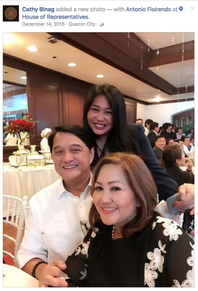 BRIDGES BURNED? Paola Alvarez smiles in a photo with her mother Emelita Alvarez and Tonyboy Floirendo during the lawmakers' Christmas party in December 2016. Screengrab from Binag's Facebook page