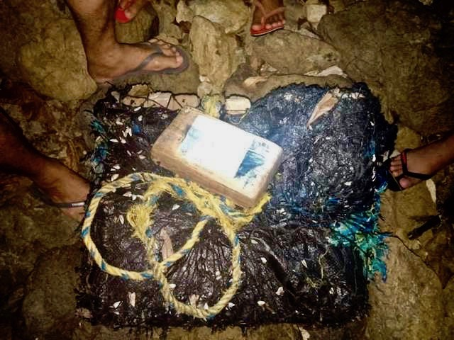 FOUND ASHORE. Cocaine bricks found in Dinagat Islands on February 12, 2019. PNP photo