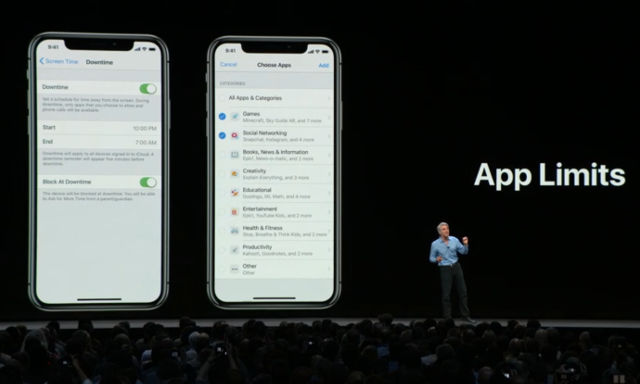 APP LIMITS. Apple's app limitation system combines with its parental controls to provide everyone with a means of controlling their usage, or that of a loved one's obsession with technoloy. Screenshot from livestream