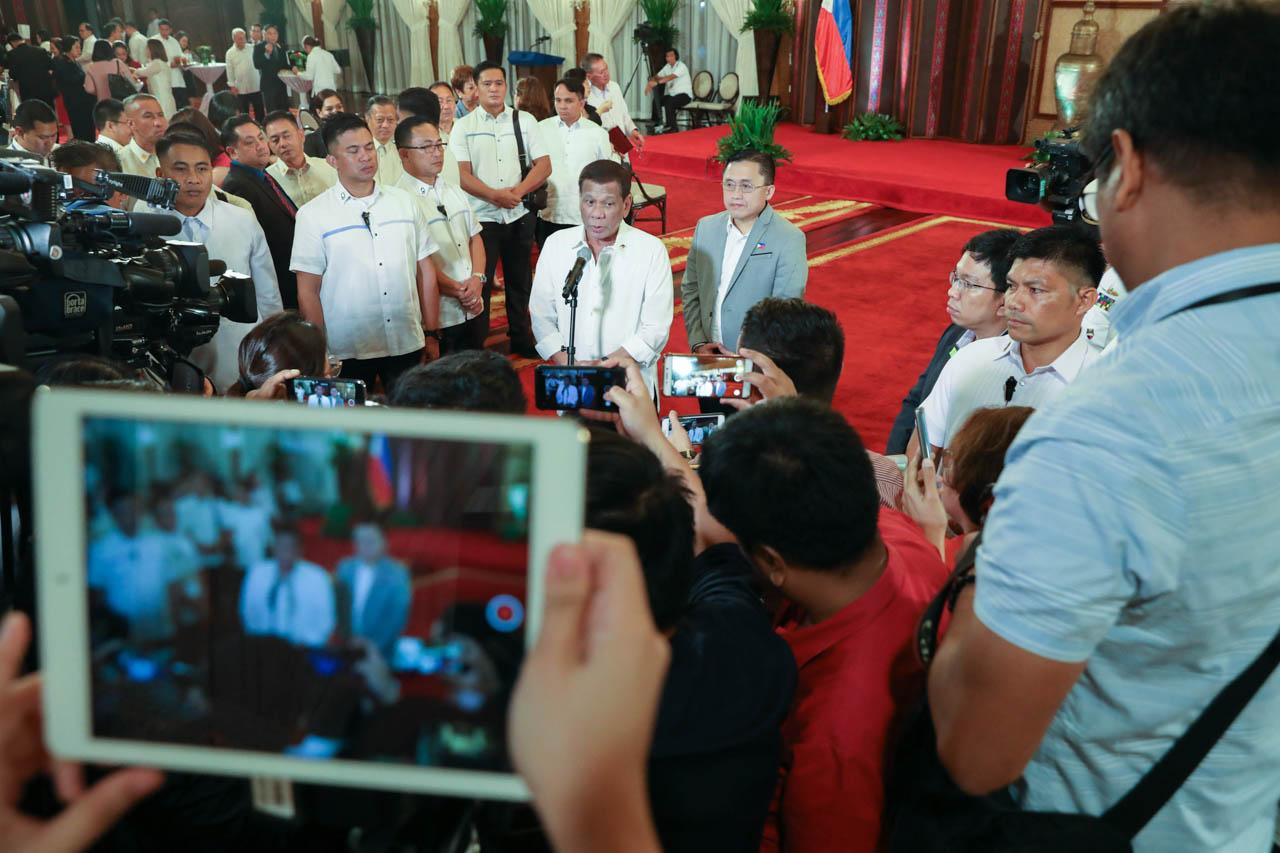 TAKING QUESTIONS. President Rodrigo Duterte responds to questions from reporters. Malacau00f1ang photo