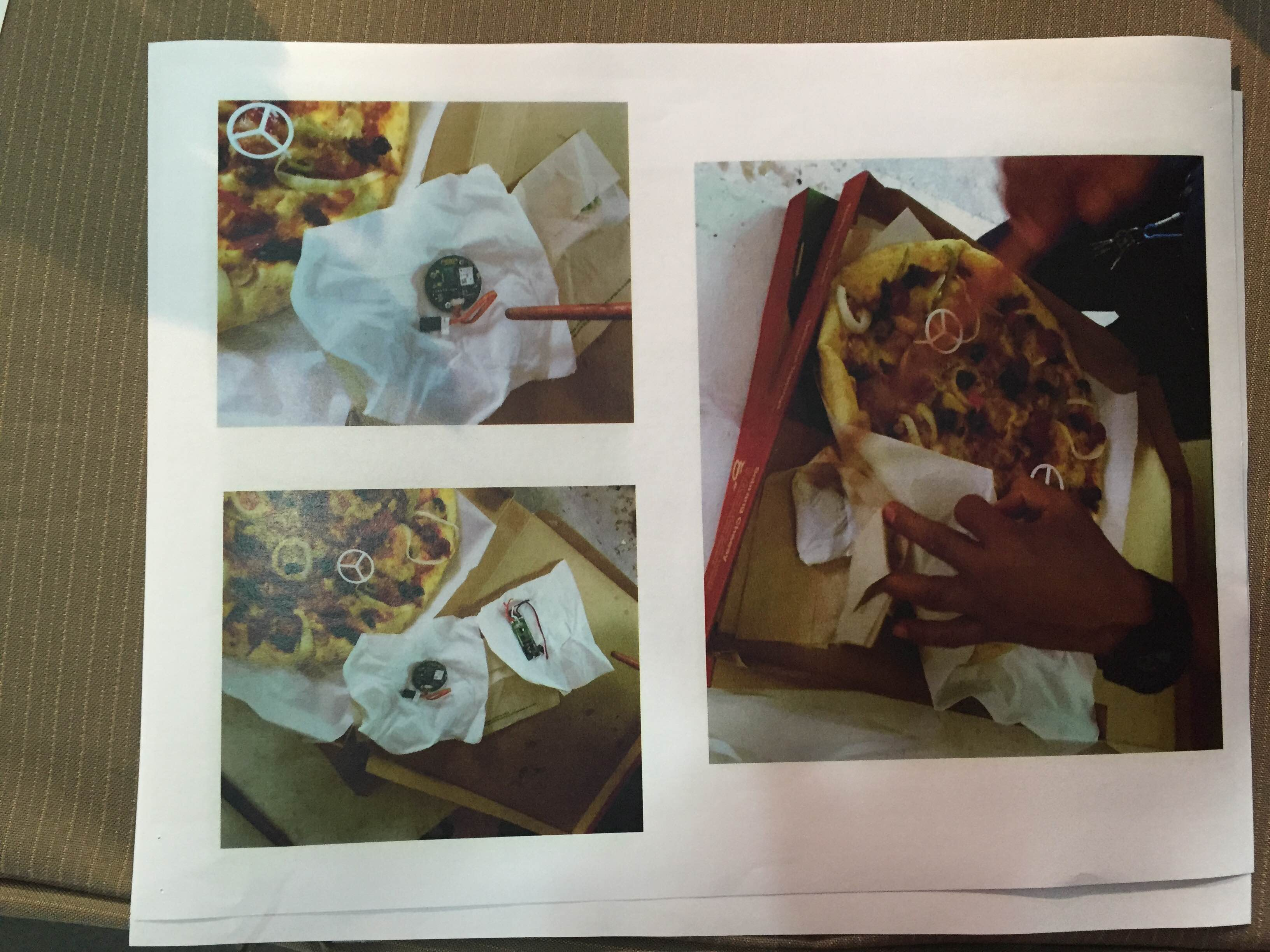 NOT JUST PIZZA? The INC flashes photos of a pizza box beling delivered to the Manalos that allegedly contained electronic devices. Photo by Mara Cepeda/Rappler
