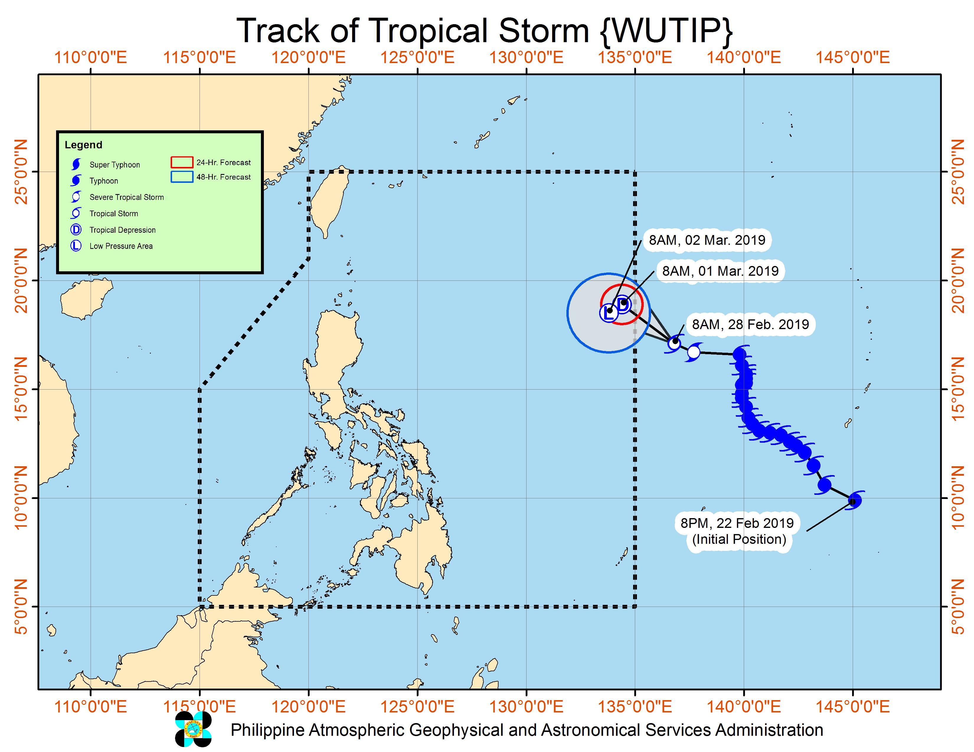Forecast track of Tropical Storm Wutip as of February 28, 2019, 11 am. Image from PAGASA