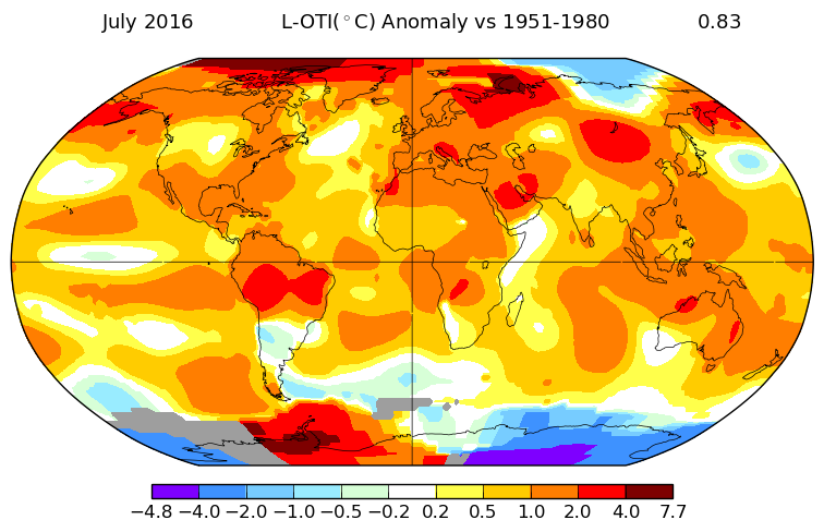 GLOBAL PICTURE. July 2016 vs 1950-1980 global average temperatures. The redder the area, the bigger the temperature difference. Image courtesy of NASA/GISS