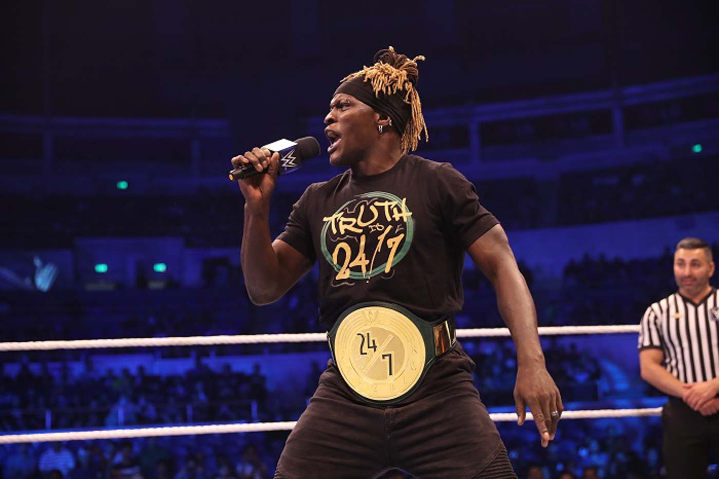 TITLE CHANGE. R-Truth surrenders the WWE 24/7 Championship title to Chad Gable. Photo from release