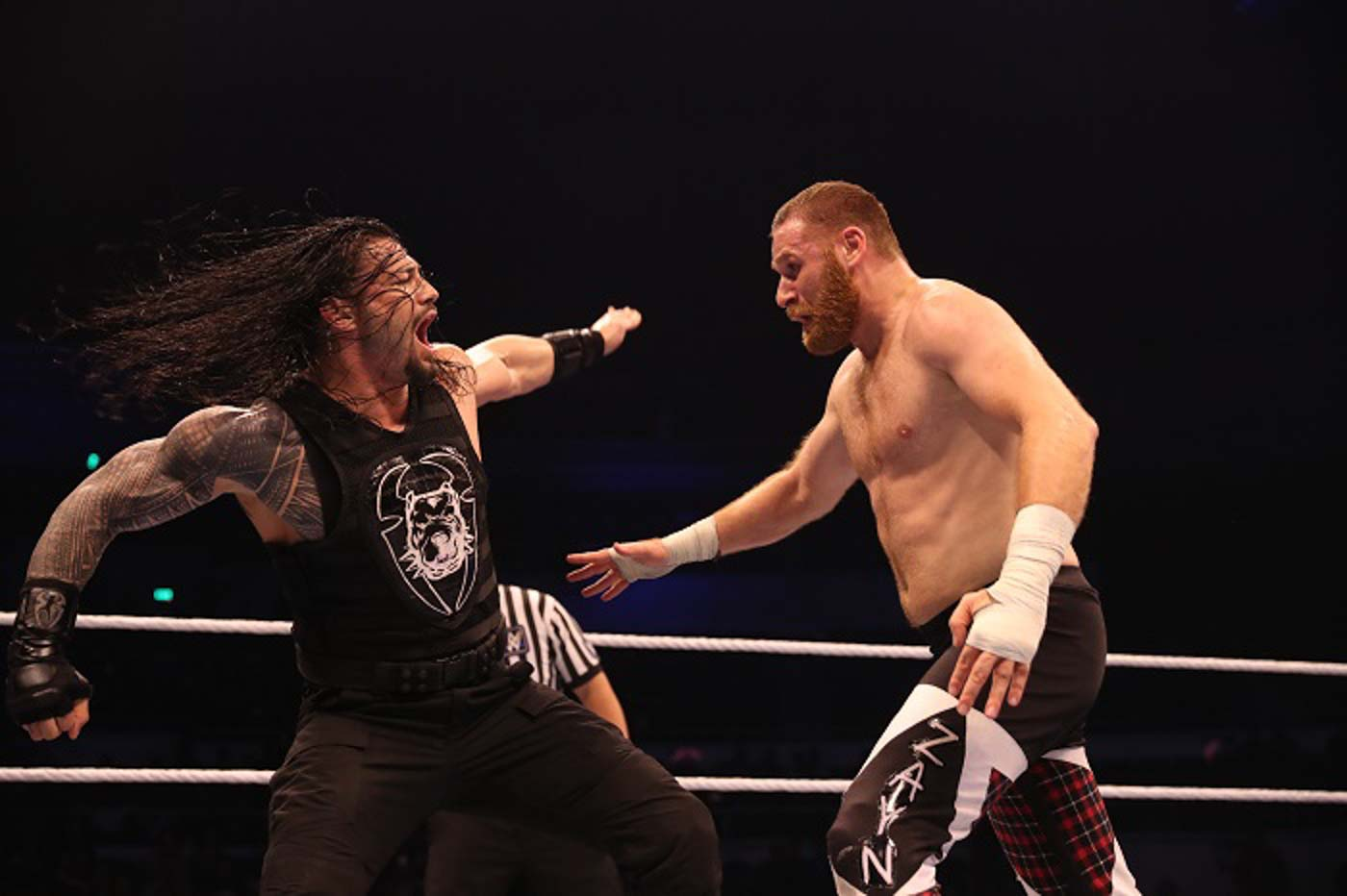 ACTION-PACKED. Roman Reigns defeats Sami Zayn in the open challenge. Photo from release