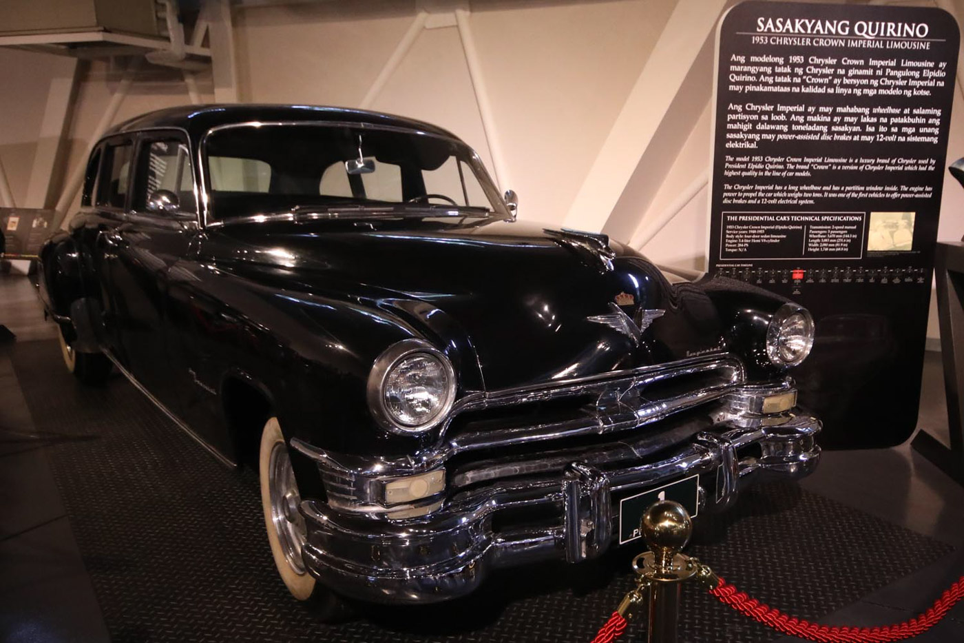 QUIRINO. The 1953 Chrysler Crown Imperial Limousine used by then president Elpidio Quirino on display. All photos by Darren Langit/Rappler