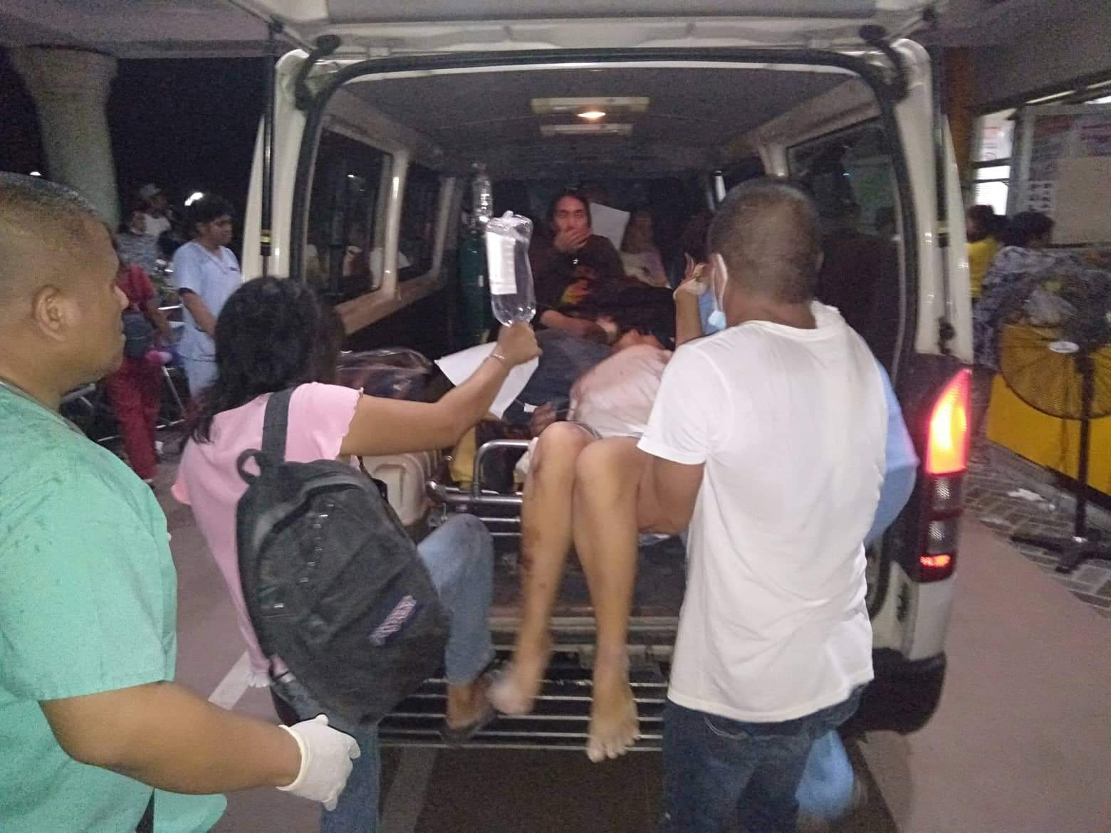 EVACUATED. A number of people were rushed to the Davao del Sur Provincial Hospital in Digos City due to various injuries from fallen objects. Others also suffered hypertension, or panicked and fainted.Contributed photo from Nilo Cobrado