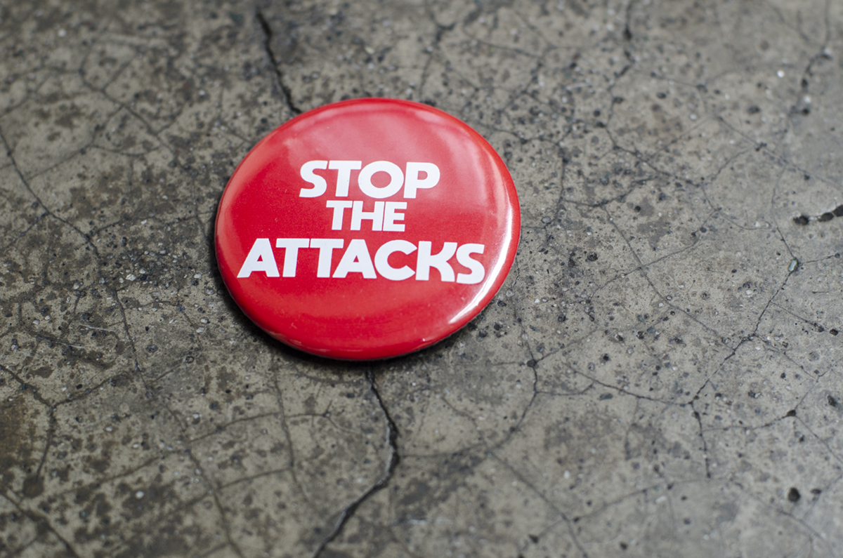 STOP THE ATTACKS. The red pin was worn by many of those who attended the Gawad Urian awards.