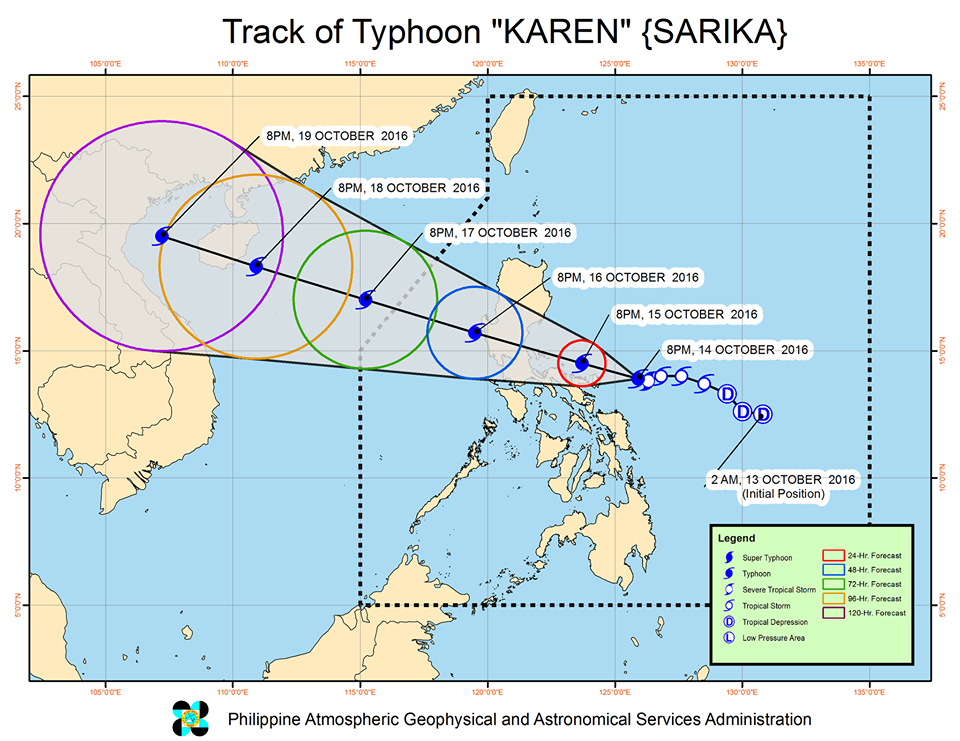 Forecast track of Typhoon Karen as of October 14, 11 pm. Image courtesy of PAGASA
