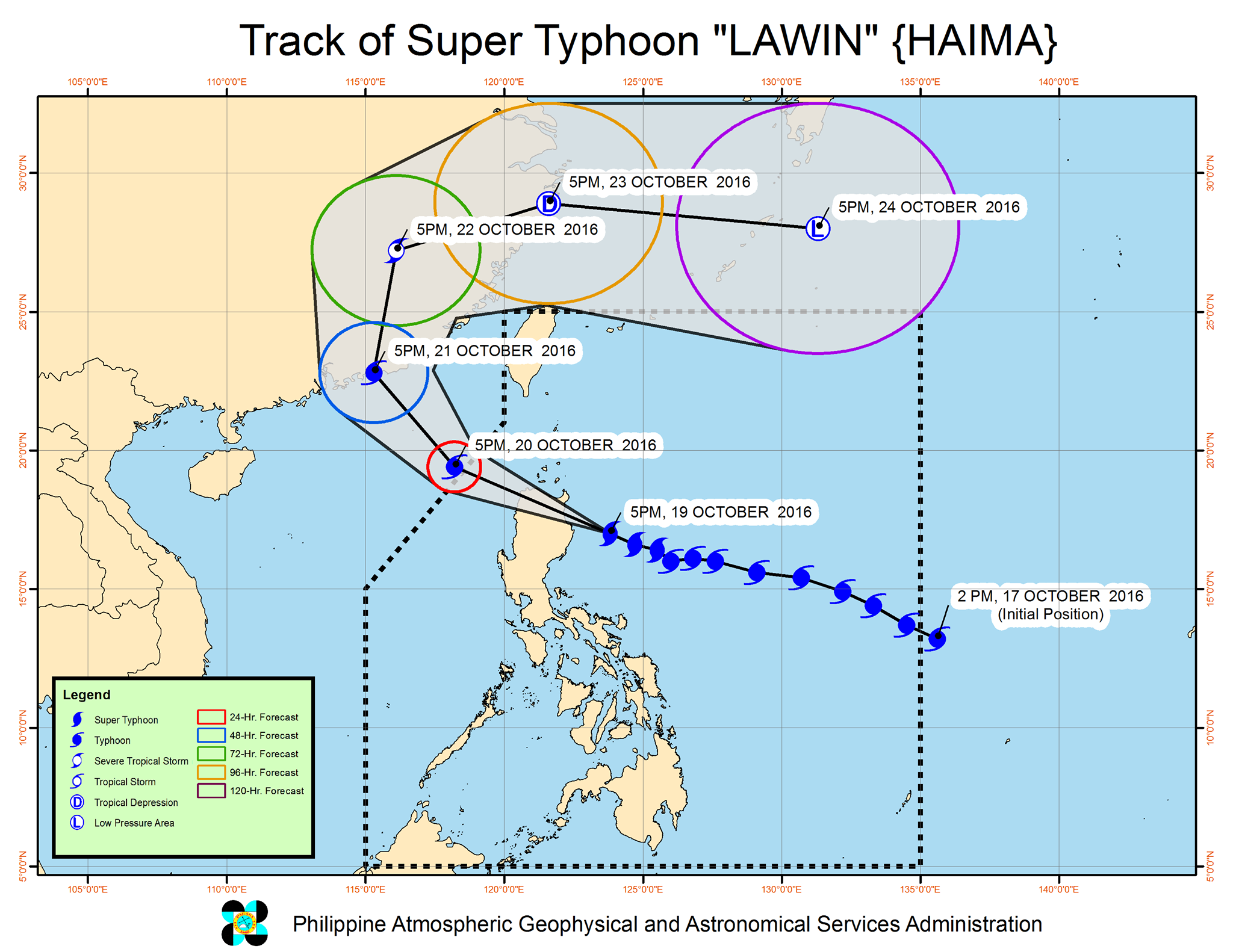 Forecast track of Super Typhoon Lawin as of October 19, 8 pm. Image courtesy of PAGASA