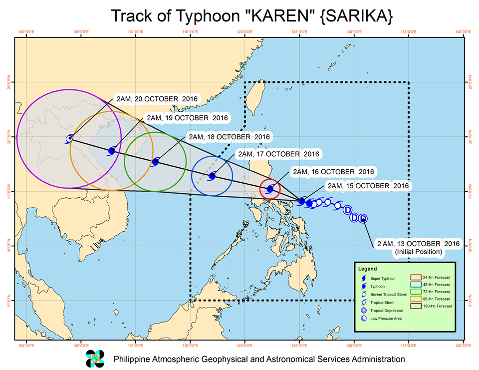 Forecast track of Typhoon Karen as of October 15, 5 am. Image courtesy of PAGASA