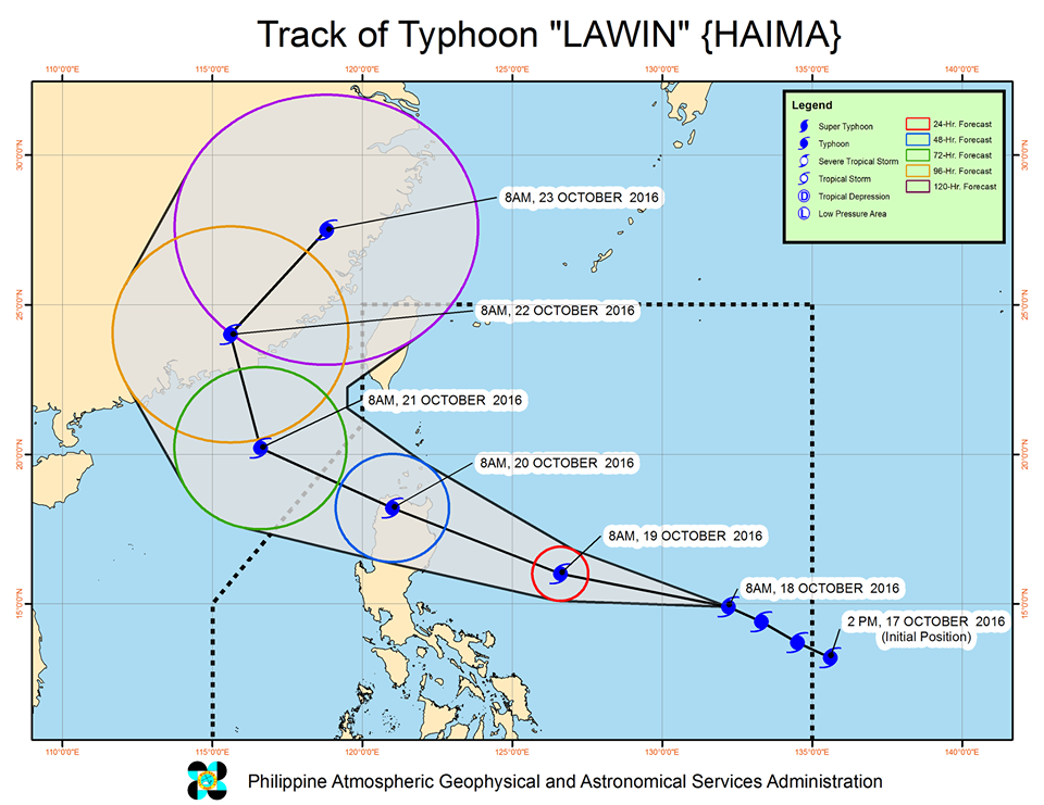 Forecast track of Typhoon Lawin as of October 18, 11 am. Image courtesy of PAGASA