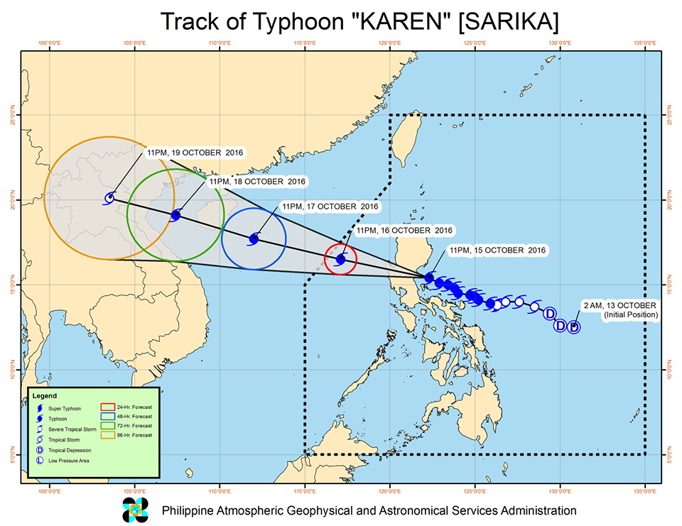 Forecast track of Typhoon Karen as of October 16, 2 am. Image courtesy of PAGASA
