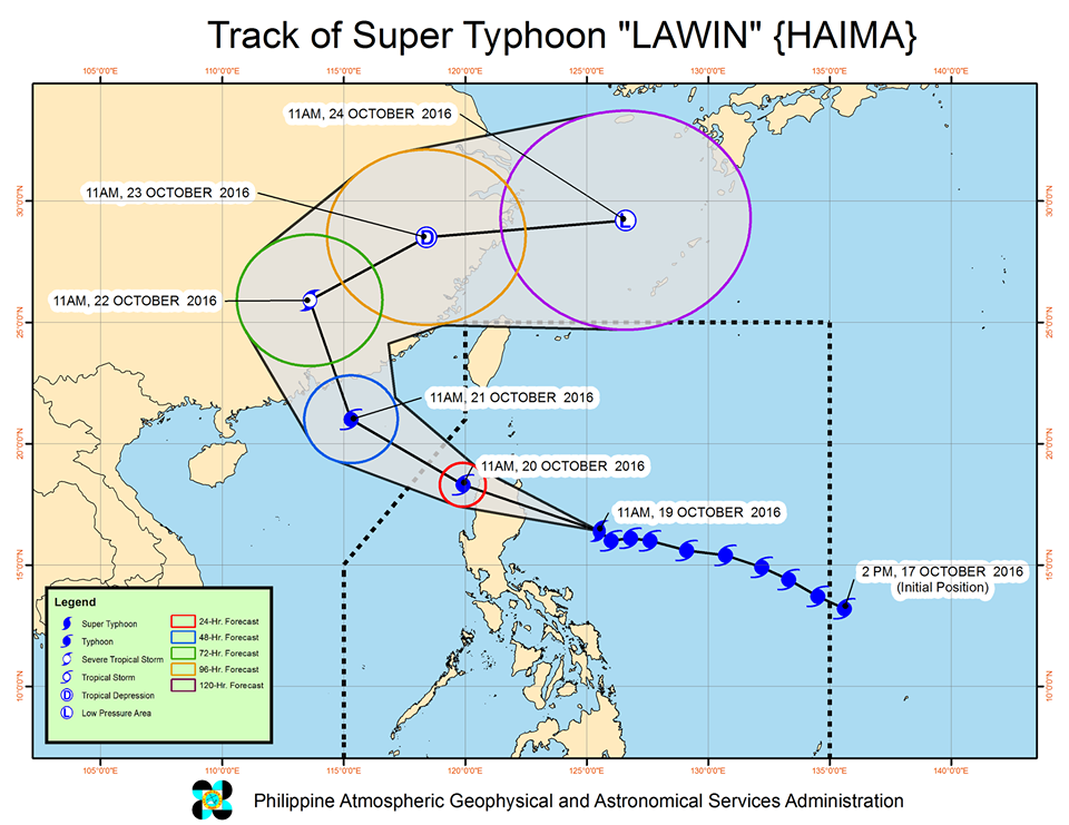 Forecast track of Super Typhoon Lawin as of October 19, 2 pm. Image courtesy of PAGASA