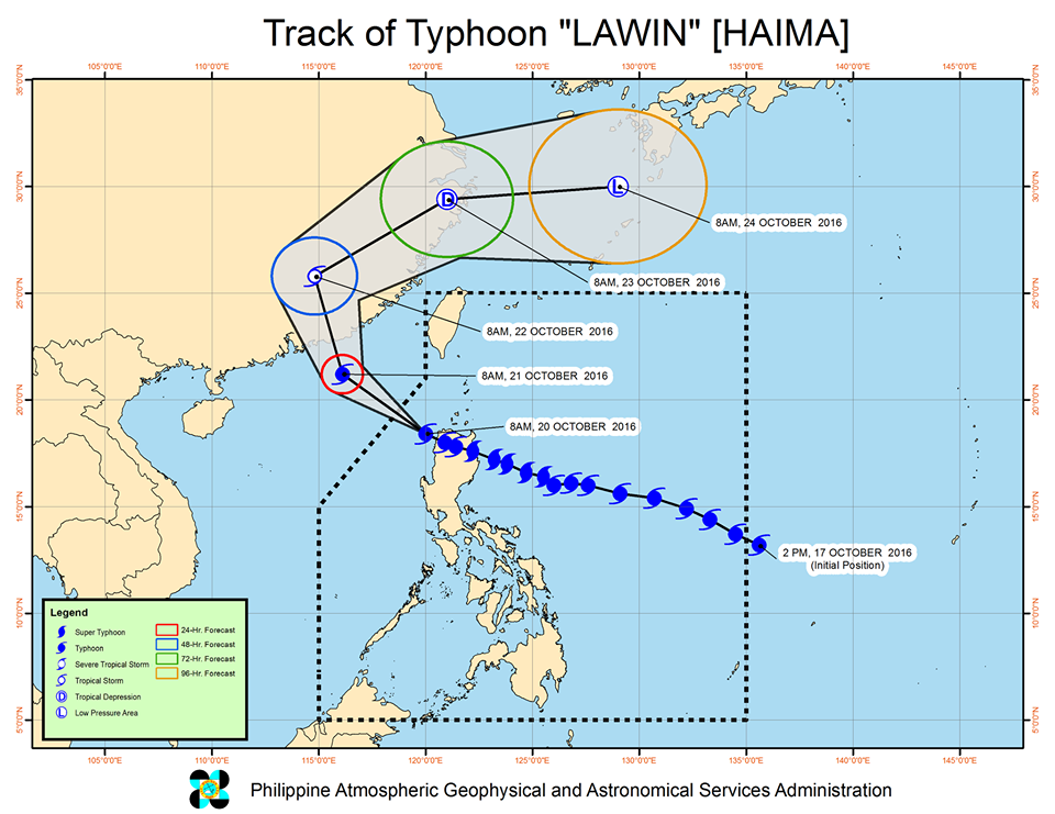 Forecast track of Typhoon Lawin as of October 20, 11 am. Image courtesy of PAGASA