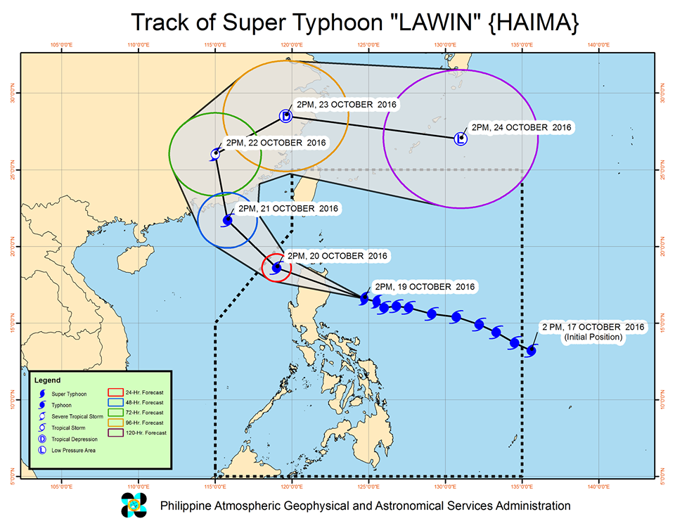Forecast track of Super Typhoon Lawin as of October 19, 5 pm. Image courtesy of PAGASA