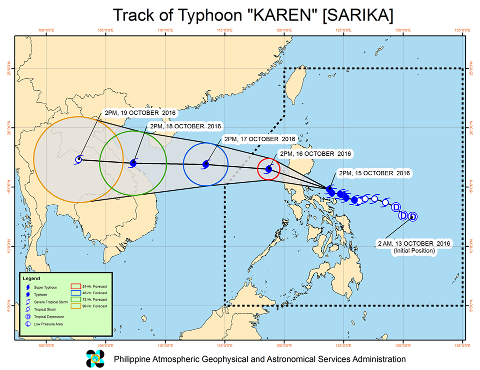 Forecast track of Typhoon Karen as of October 15, 5 pm. Image courtesy of PAGASA
