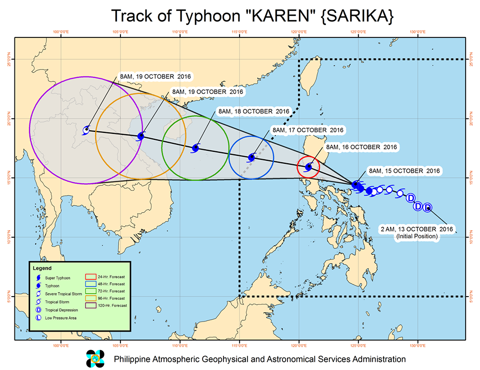 Forecast track of Typhoon Karen as of October 15, 11 am. Image courtesy of PAGASA