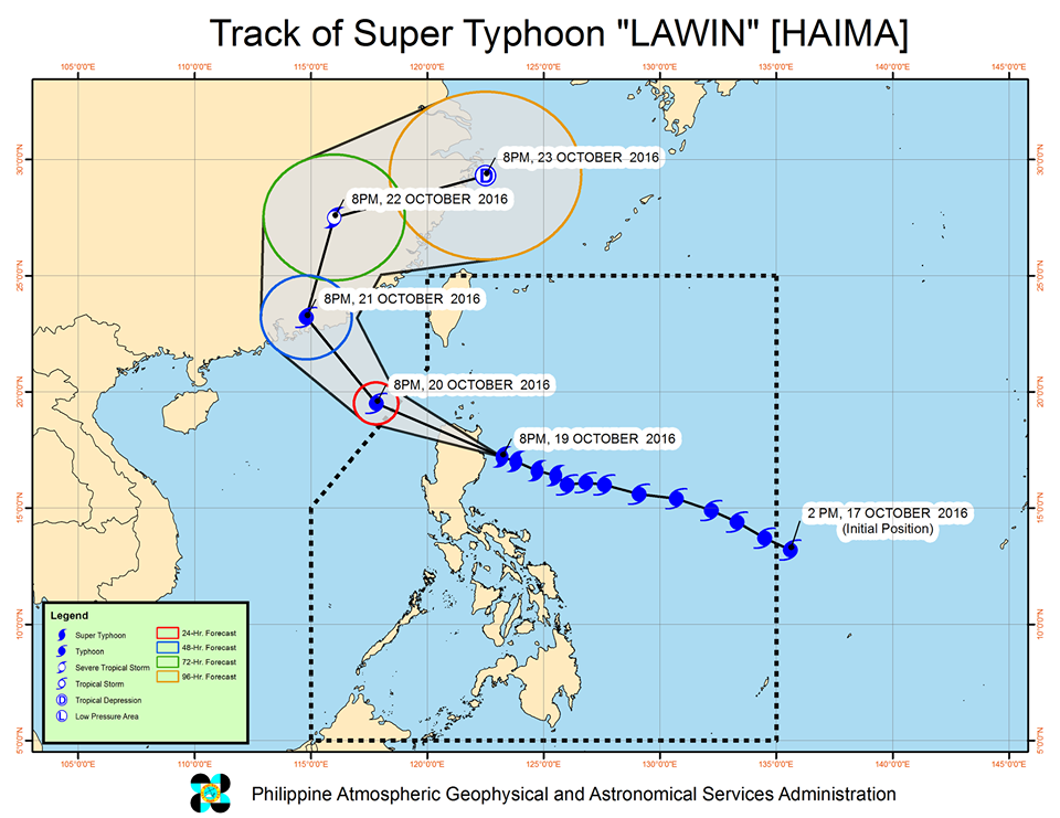 Forecast track of Super Typhoon Lawin as of October 19, 11 pm. Image courtesy of PAGASA