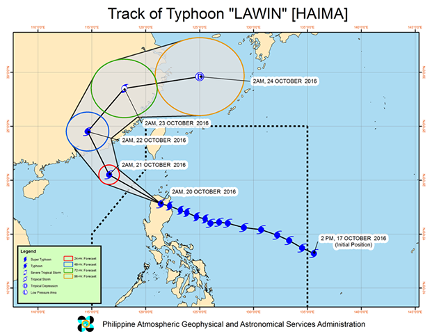 Forecast track of Typhoon Lawin as of October 20, 5 am. Image courtesy of PAGASA