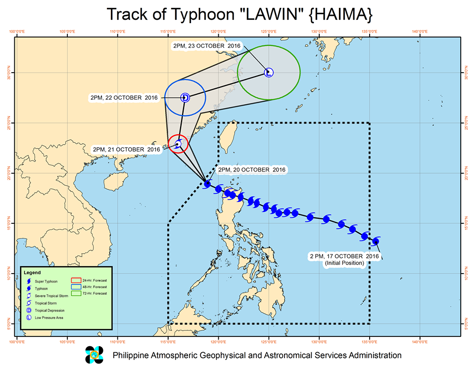 Forecast track of Typhoon Lawin as of October 20, 5 pm. Image courtesy of PAGASA