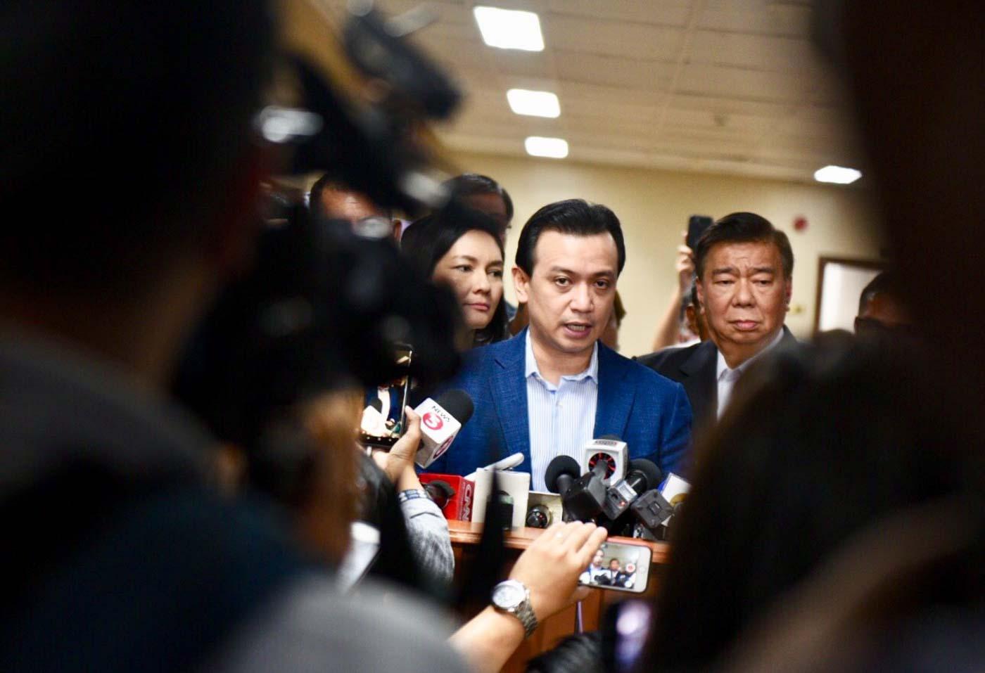 MISSING APPLICATION? Senator Antonio Trillanes IV speaks to reporters on Tuesday, September 4, 2018. Photo by Leanne Jazul/Rappler