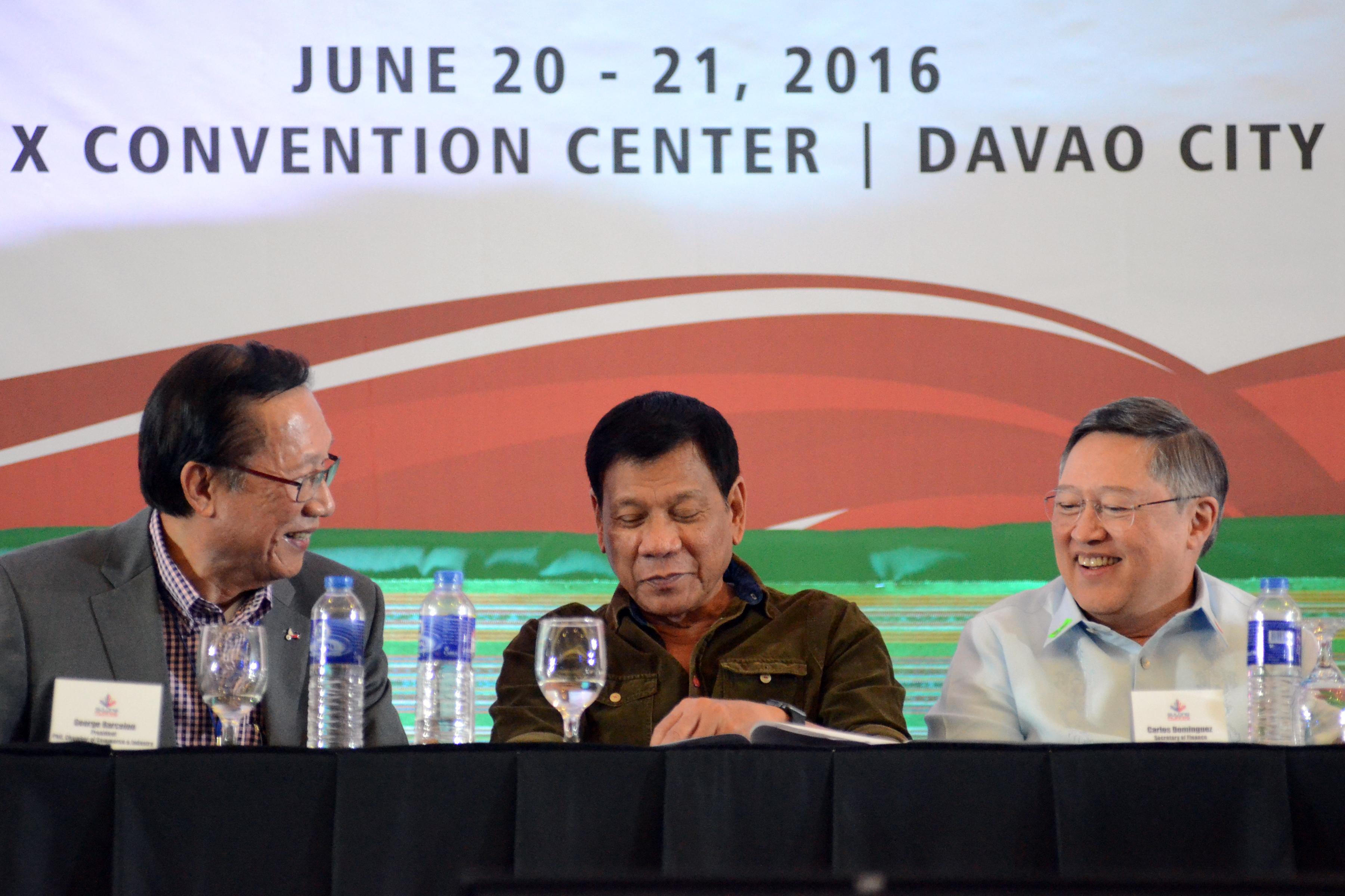 ADDRESSING TERRORISM. President-elect Rodrigo Duterte attends a business forum in Davao City on June 21, 2016. Photo from Sulong Pilipinas