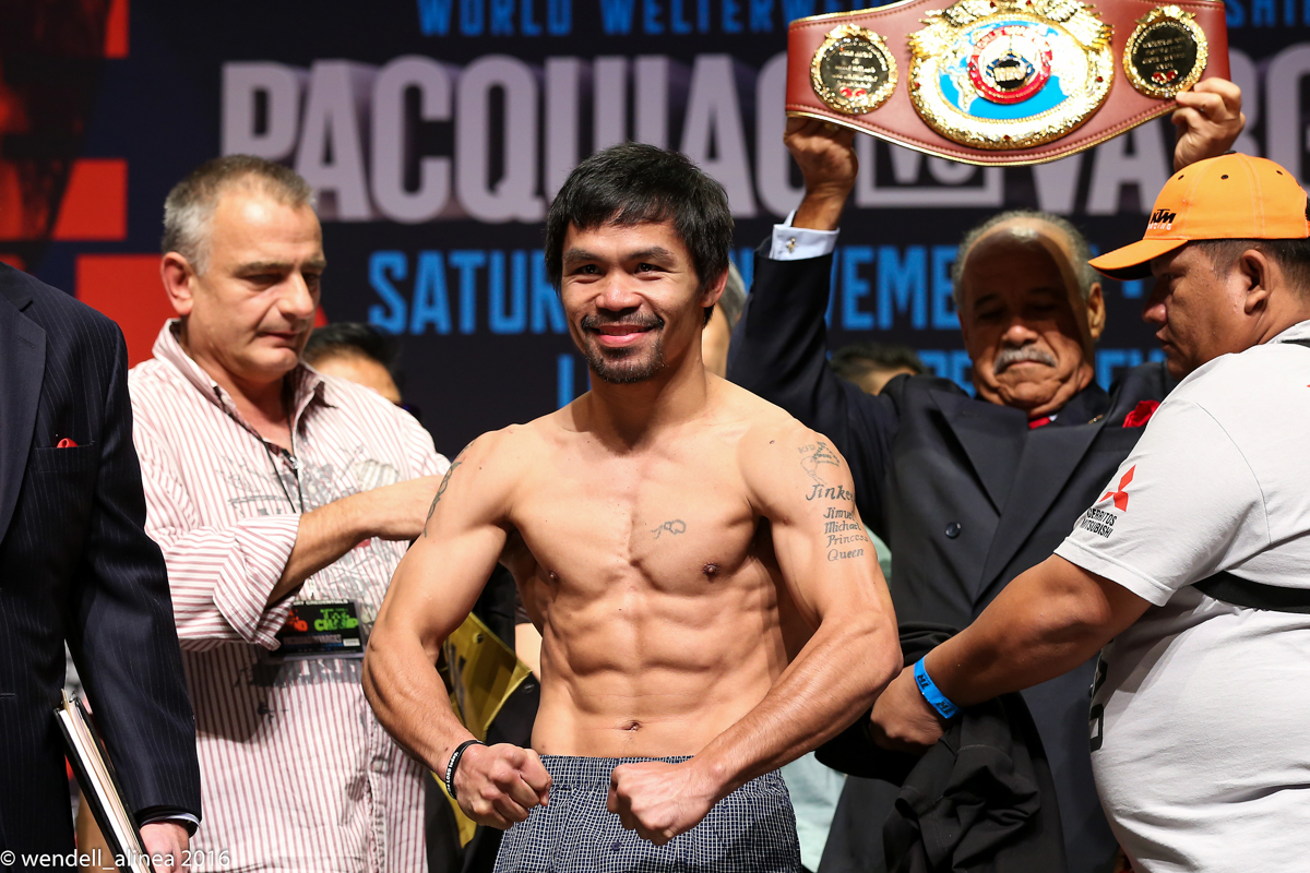Manny Pacquiao weighed 144.8 pounds for his challenge of WBO welterweight champ Jessie Vargas. Photo by Wendell Alinea/Rappler