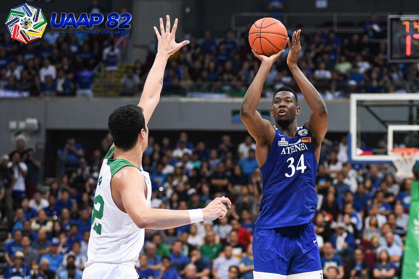 USUAL NUMBERS. Ange Kouame proves to be another reliable, dropping a double-double outing of 10 points, 14 boards, and 3 blocks. Photo release