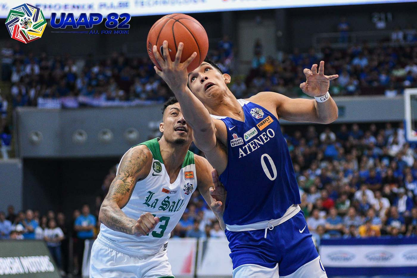 STEADY. As always, Thirdy Ravena keeps the Blue Eagles on an even keel to help Ateneo complete an elimination sweep of La Salle.  Photo release