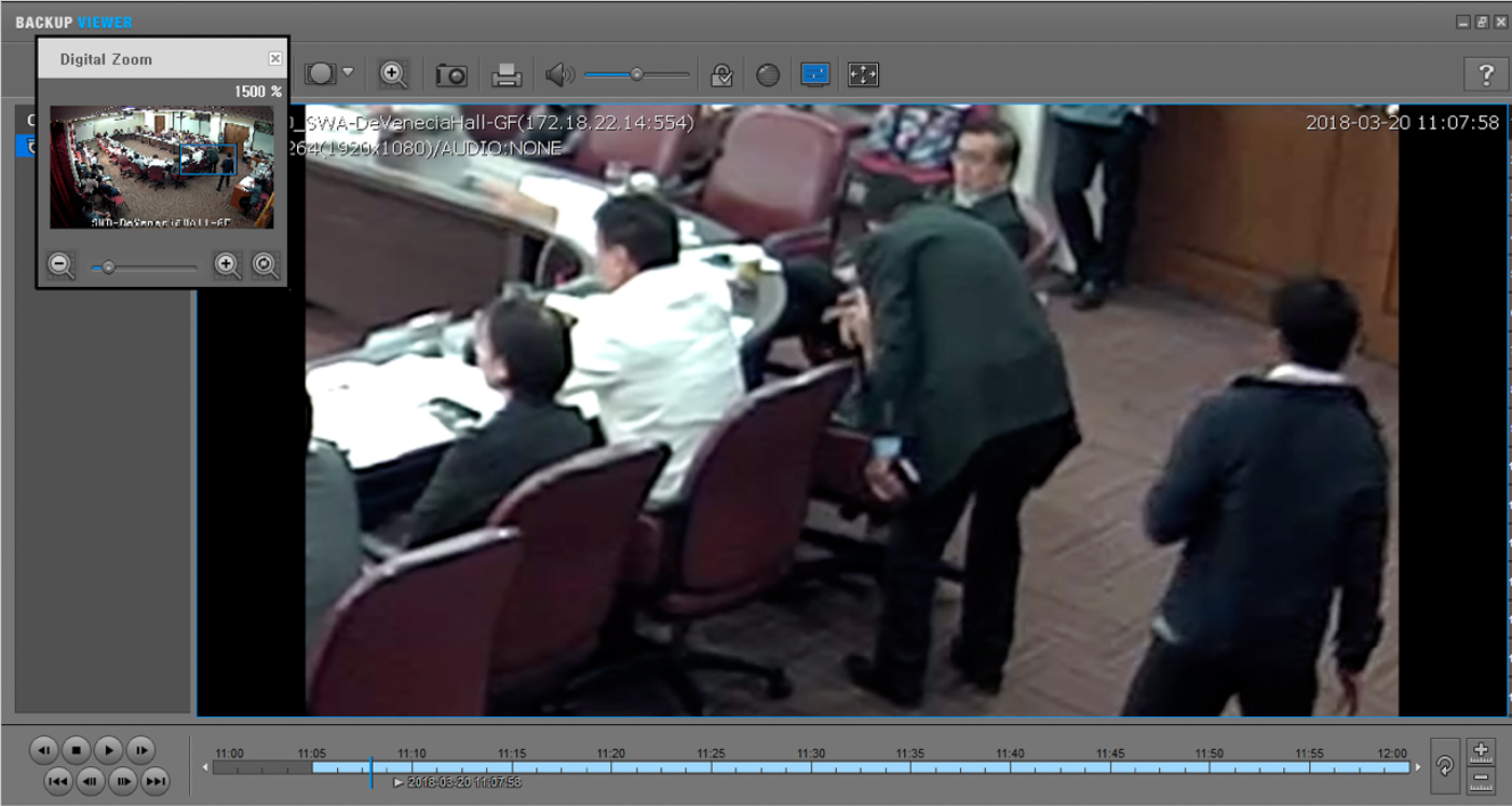 THE APPROACH. In the CCTV video, Villarin is seen wearing a white polo while Paras, wearing a suit, approaches his table. Screenshot by Villarin