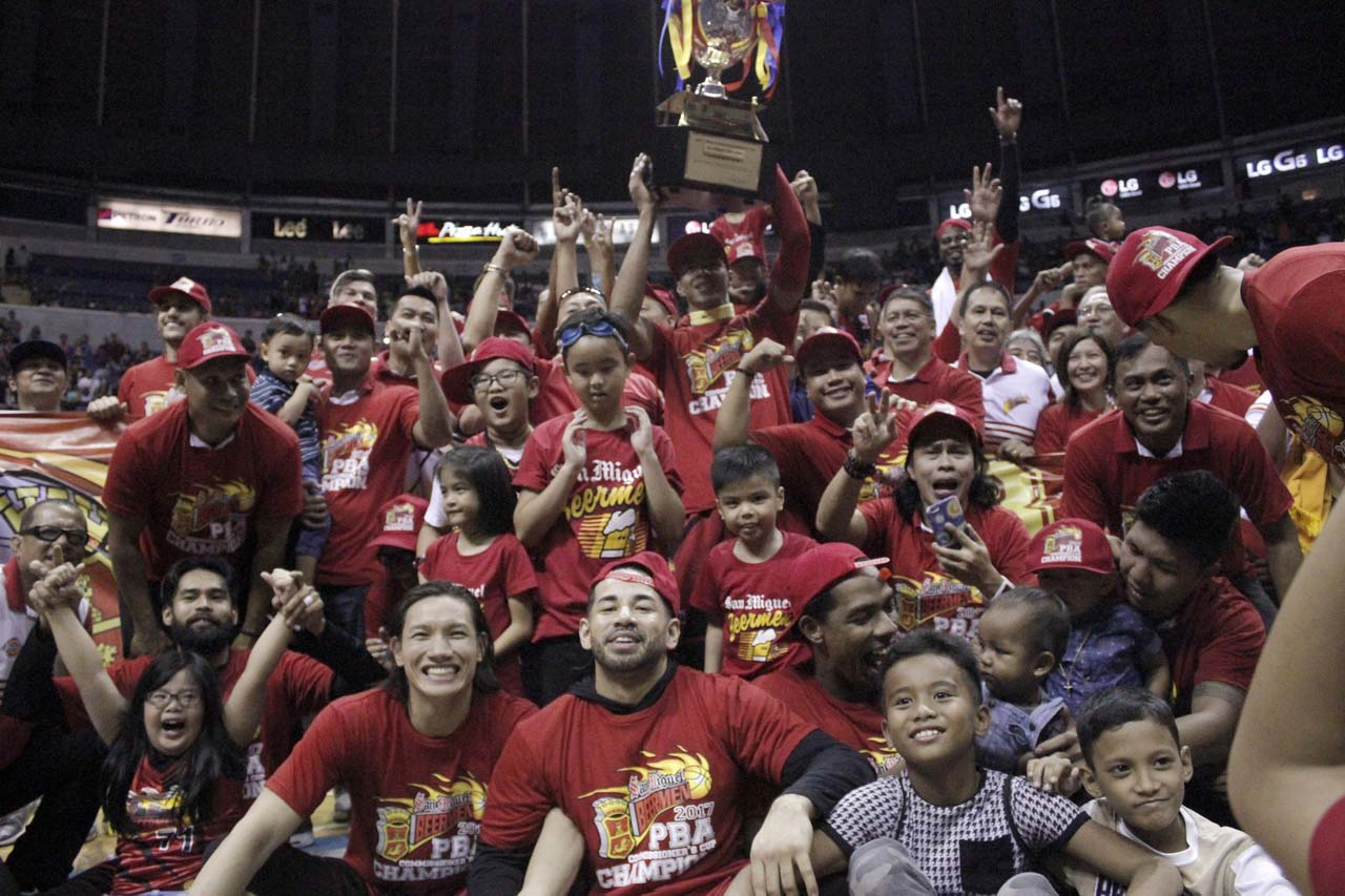 CHAMPS. San Miguel Beermen wins 5th PBA championship in 8 conferences. Photo from PBA Images