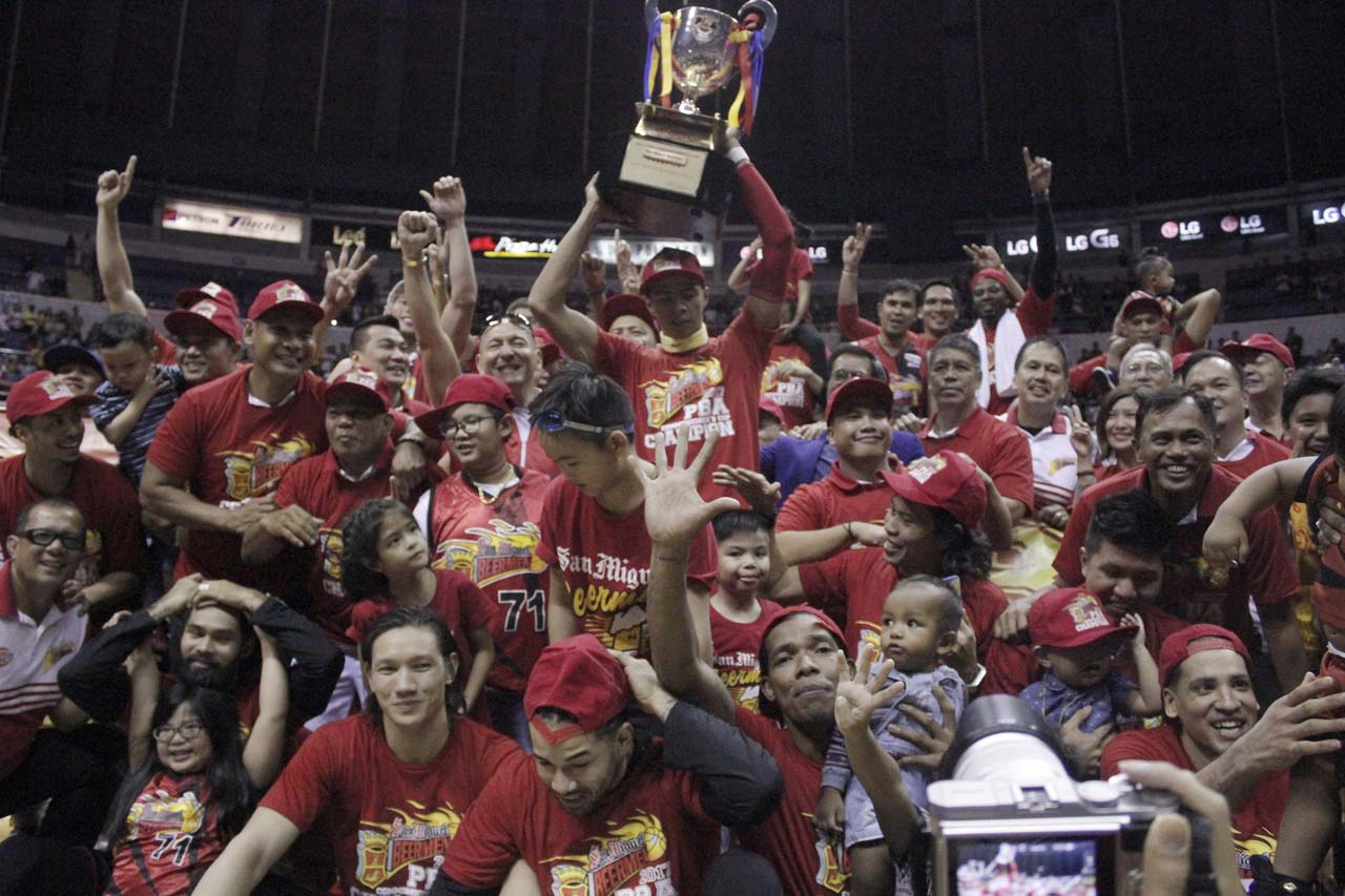 CHAMPS. The Beermen awarded their latest title. Photo from PBA Images