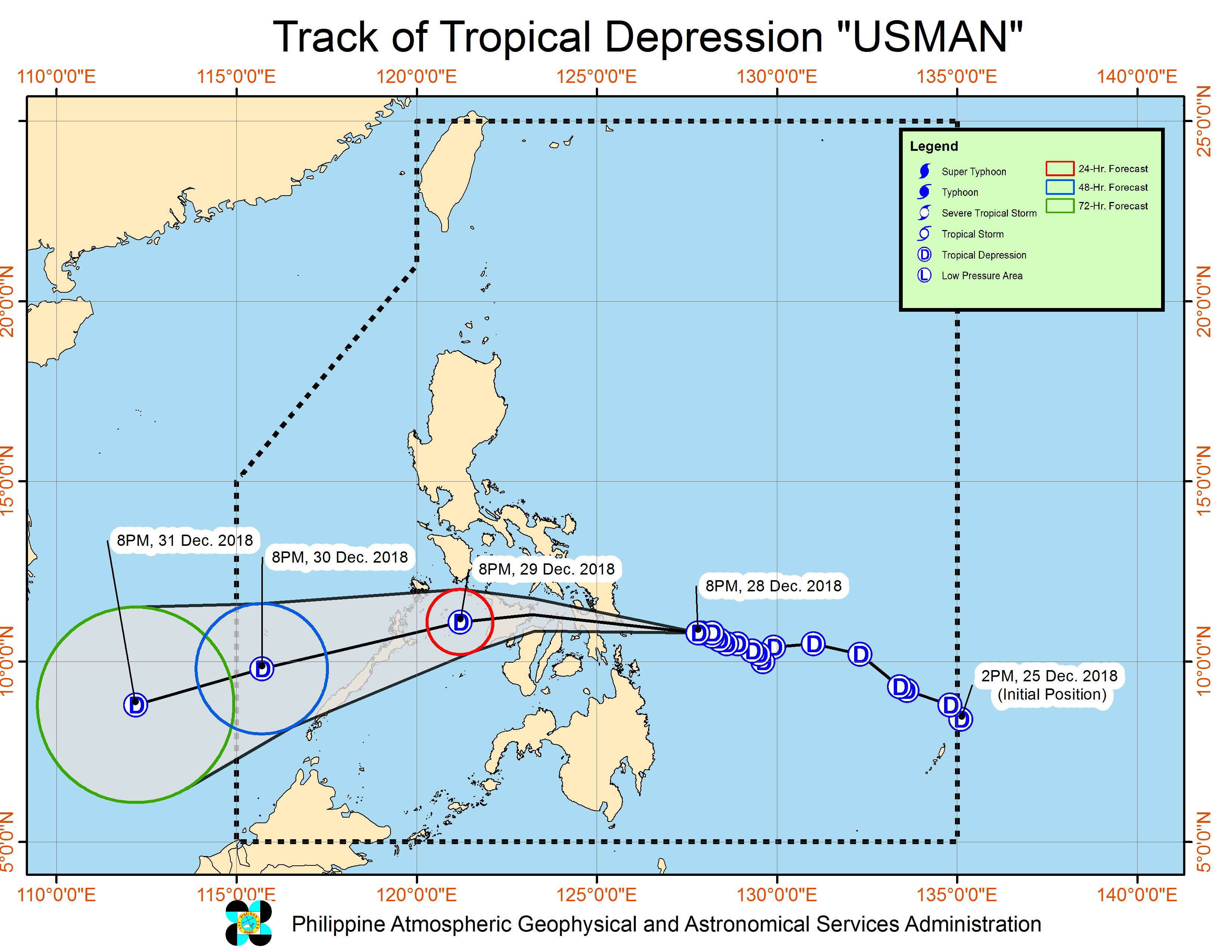 Forecast track of Tropical Depression Usman as of December 28, 2018, 11 pm. Image from PAGASA