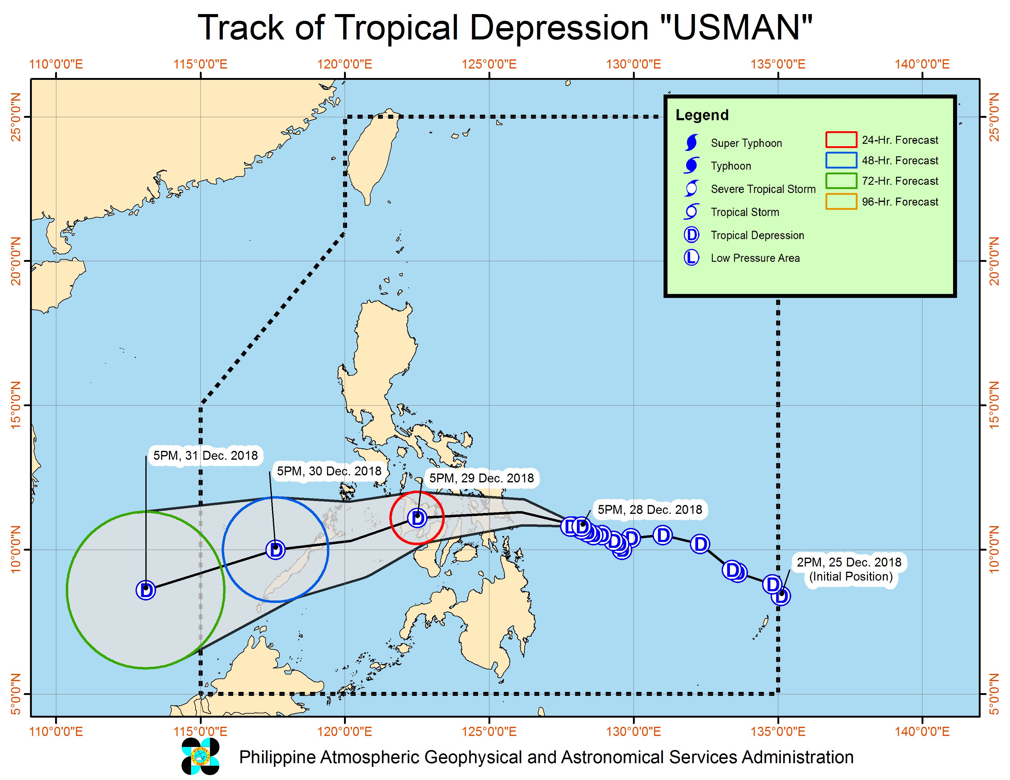 Forecast track of Tropical Depression Usman as of December 28, 2018, 8 pm. Image from PAGASA