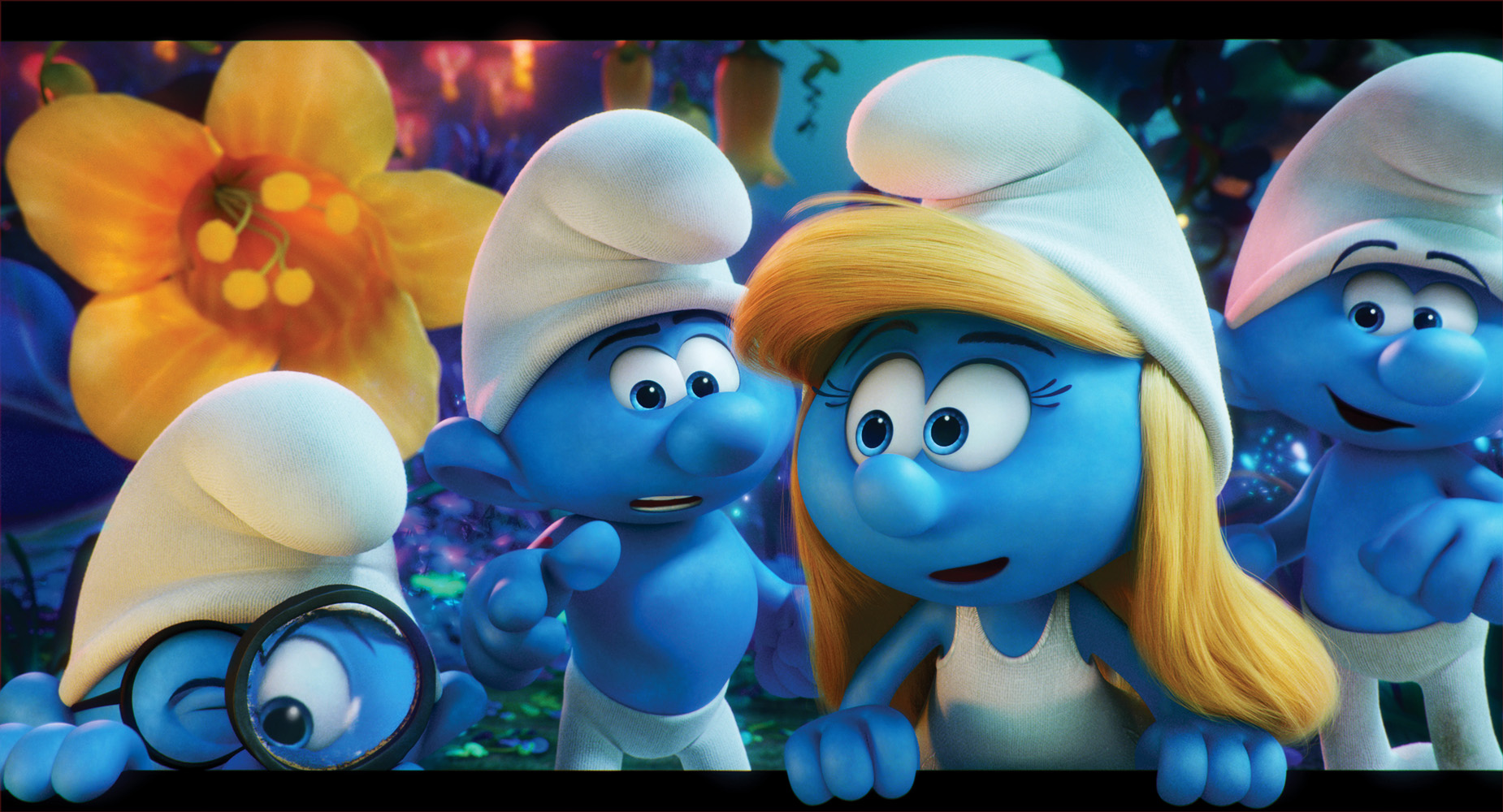 Brainy (Danny Pudi), Hefty (Joe Manganiello), Smurfette (Demi Lovato) and Clumsy (Jack McBrayer) embark on an exciting and thrilling race through the Forbidden Forest. Photo courtesy of Columbia Pictures