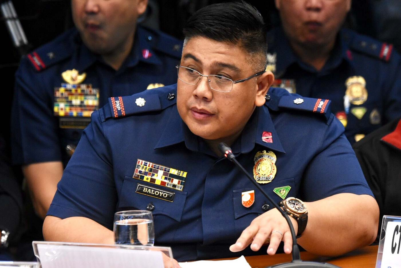 NINJA COP? At the hearing, Lt Col Raymund Baloyo IV says he was at the 2013 buy-bust operation, and that 2 security guards were threatening their group that's why they had to do the inventory of the drugs elsewhere. Photo by Angie de Silva/Rappler