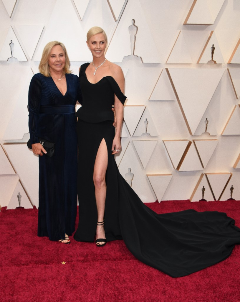 US-South African actress Charlize Theron and her mom Gerda Jacoba Aletta Maritz arrive for the 92nd Oscars at the Dolby Theatre in Hollywood, California on February 9, 2020. Photo by Robyn Beck / AFP