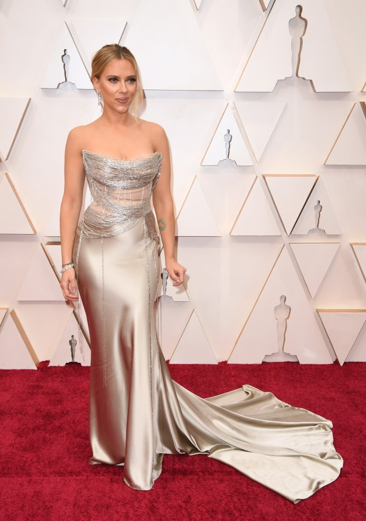 Scarlett Johansson arrives for the 92nd Oscars at the Dolby Theatre in Hollywood, California on February 9, 2020. Photo by Robyn Beck / AFP