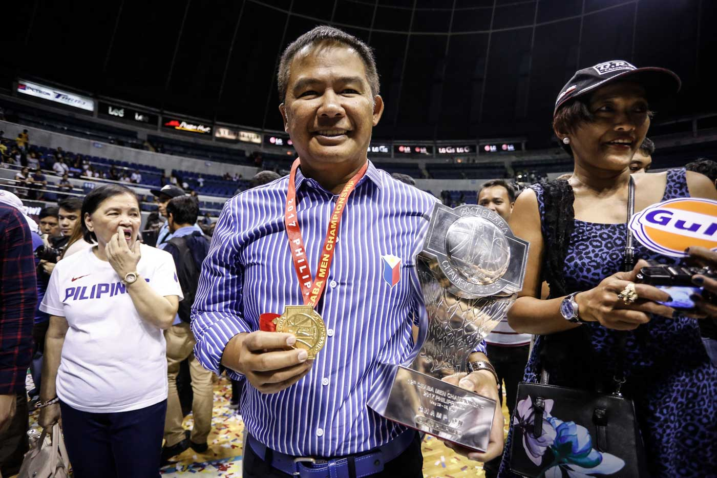 FIRST ON HOME SOIL. This is the first international tournament that Coach Chot Reyes won on home soil. Photo by Josh Albelda/Rappler