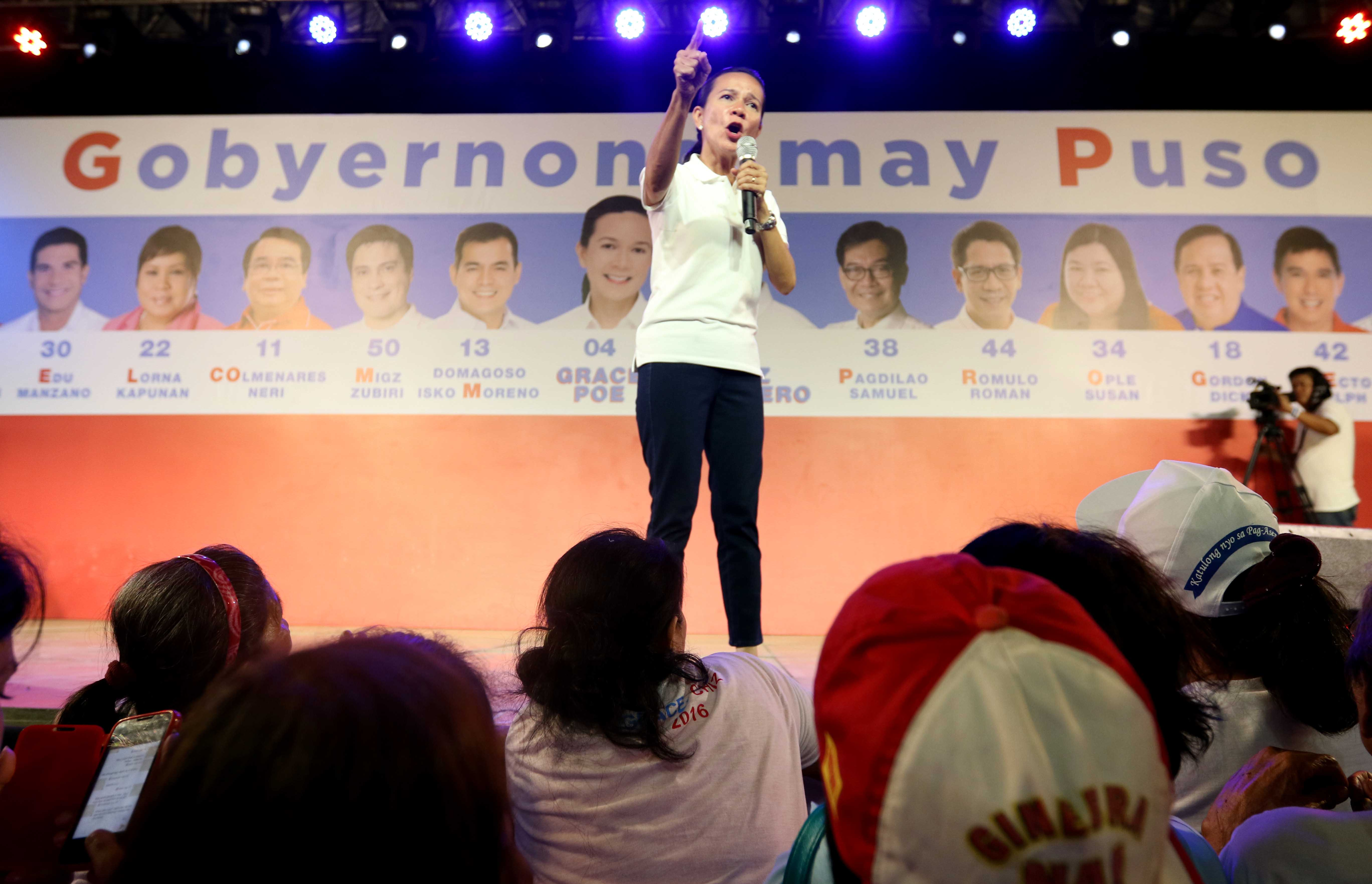 FEISTY. Presidential bet Grace Poe has now shown her feistier side in the weeks leading to election day. Photo byArnold Almacen /Poe-Escudero Media Bureau